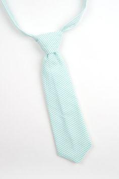 Mint seersucker necktie, mint necktie, mint stripe tie, mint boys tie, mint wedding, seafoam necktie, seersucker tie, toddler necktie, green