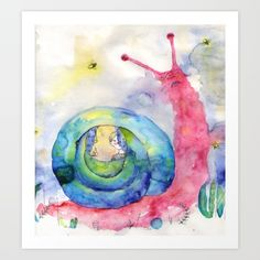 painting  watercolor  other  acrylic   illustration  other  watercolor,  akvarell   child  snails  firefly  naive   art  pink  cute  pensil