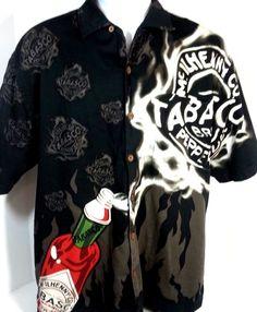 Tabasco Men's Size L #CampShirt #NewOrleans Black 100% Cotton #BourbonStreet #TABASCO #ButtonFront