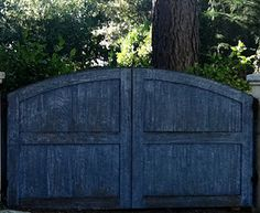 Chippy blue driveway gate