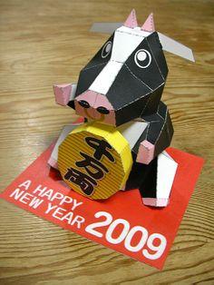 牛のペーパークラフト papercraft