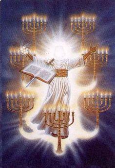 Jesus standing among the seven lampstands Pictures Of Jesus Christ, Bible Pictures, Braut Christi, Arte Judaica, Revelation Bible, Christian Artwork, Jesus Painting, Jesus Christus, Templer