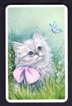 Vintage Swap Card -Gorgeous Kitten Watching Butterfly -White Border (BLANK BACK)