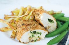 Rosemary Conley's chicken Kiev and chips