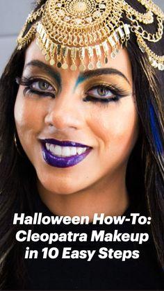 Cleopatra Makeup, Cleopatra Beauty Secrets, Cleopatra Costume, Egyptian Costume, Creepy Costumes, Halloween Costumes For Teens, Happy Halloween, Beautiful Halloween Makeup, Makeup Dressing Table