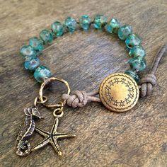 "Sea Horse & Starfish Knotted Bracelet, ""Surfer Girl"""