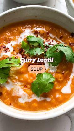 Lentil Recipes, Healthy Soup Recipes, Veggie Recipes, Indian Food Recipes, Vegetarian Recipes, Dinner Recipes, Cooking Recipes, Curried Lentil Soup, Lentil Curry