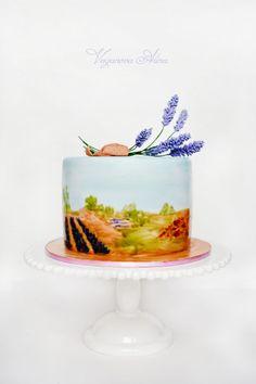 Wedding cake with lavender