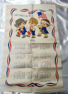 "Vintage Hallmark Calendar 1976 Linen Wall Hanging Original Box 16"" x 28"" #Hallmark"