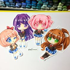 Mini chibi set of the Doki Doki Literature club girls! Sayori, Yuri, Natsuki and Monika! ---- My favourite is Sayori, who's yours?? ---- #dokidokiliteratureclub #ddlc #dokidokiliteratureclubfanart #natsuki #sayori #yuri #monika #chibi #fanart #copic #copicmarkers #copicart #kawaii #anime #manga #paigeeworld