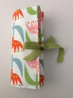 Scandi floral fabric crochet hook roll