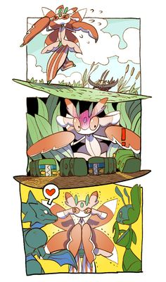 Lurantis, Wimpod, Charjabug, Scyther, and Leavanny Pikachu, Pokemon Alola, Pokemon Ships, Pokemon Comics, Pokemon Funny, Pokemon Fan Art, Pokemon Stuff, Play Pokemon, Pokemon Special