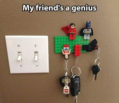 DIY mount legos on your wall, easy way to hold keys! Genius!