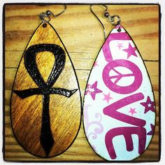 """Ankh Earrings with """"LOVE"""" graphic back"""