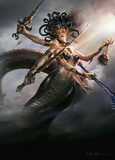 Medusa by Haijun Wang Medusa Kunst, Medusa Art, Medusa Gorgon, Medusa Tattoo, Fantasy Women, Dark Fantasy Art, Fantasy Girl, Fantasy Artwork, Tiamat Dragon