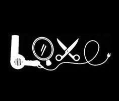 """LOVE Stylist Dryer Scissors 6"""" White Vinyl Car Truck Decal Sticker Hairdresser…"""