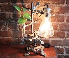 Industrial desk lamp, industrial lamp, industrial table lamp, studio light, vase, antique chemistry and laboratory science, steampunk lamp on Etsy, $145.00