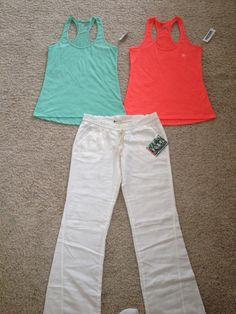 Pac Sun white linen pants and racerback tanks.
