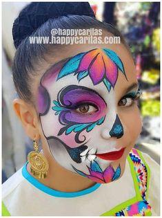 Beautiful bright sugar skull face paint design, ca Face Painting Halloween Kids, Girl Face Painting, Skull Painting, Face Painting Designs, Body Painting, Face Paintings, Halloween Face Paint Designs, Sugar Skull Face Paint, Sugar Skull Makeup