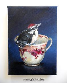 "'LITTLE WOODPECKER AND THE RED ROSES"" (16th in series ""Little Bird's Tea"" red transferware tea cup)Bird Teacup painting original still life Woodpecker by 4WitsEnd, via Etsy"