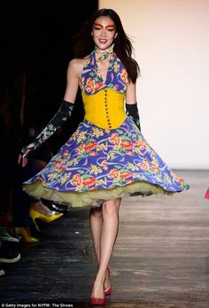 Party time: Models danced down the runway in vibrant, glitzy outfits as Betsey celebrated ...