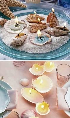Inexpensive table decorations - 70 ideas that you can easily replicate - cheap table decoration with shells candles Best Picture For crafts for tweens For Your Taste You - Seashell Candles, Seashell Art, Seashell Crafts, Diy Candles, Candle Wax, Cheap Table Decorations, Decoration Table, Table Centerpieces, Centerpiece Ideas