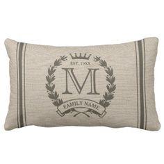 Monogrammed Family Logo Burlap Look Lumbar Pillow #monogram #gifts #cushions #pillows