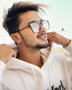 Image may contain: 1 person, sunglasses, beard and closeup Cute Boy Photo, Cute Girl Pic, Cute Boys, Funny Nicknames For Friends, Photoshoot Pose Boy, Boys Kurta Design, Gents Hair Style, Football Workouts, Musically Star