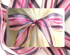 Etsy :: Your place to buy and sell all things handmade Hair Ribbons, Ribbon Hair, Bad Hair Day, Hair Ties, Girl Hairstyles, Women Jewelry, Hair Accessories, Bows, Pink