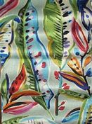 Durable linen weave background with bright multi colored bold tropical leaf print. Use this decorator fabric for furniture upholstery, window treatments, or table covers. Tropical Fabric, Tropical Leaves, Fabric Design, Pattern Design, Fabric Outlet, Reupholster Furniture, Bath Girls, Geometric Fabric, Textiles