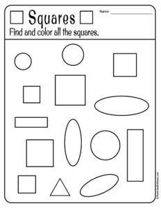 Free printable shapes worksheets for toddlers and preschoolers. Preschool shapes activities such as find and color, tracing shapes and shapes coloring pages. Shape Worksheets For Preschool, Shapes Worksheet Kindergarten, Pre K Worksheets, Shapes Worksheets, Preschool Learning Activities, Preschool Printables, Preschool Lessons, Preschool Shapes, Coloring Worksheets