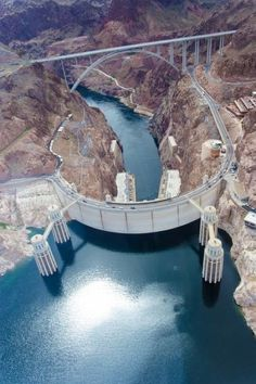 Aerial of Hoover Dam, Colorado River & the Mike O'Callaghan - Pat Tillman Memorial Bridge - Nevada/Arizona border (about 30 miles from Las Vegas). Nevada, Las Vegas, Places To Travel, Places To See, Zell Am See, Hoover Dam, Colorado River, Colorado Usa, Tours