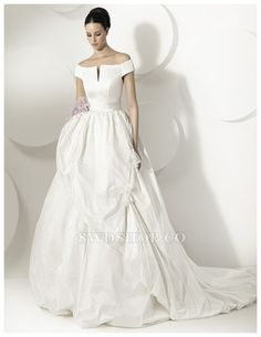 2014 Fashion Ball Gown Princess Off-the-shoulder Short Sleeves Sweep Train Wedding Dress $373.99 2015 Spring Wedding Dresses