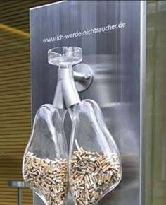 This ad is creative because it causes  the people that were outside smoking to throw their finished cigarettes into the lungs to represent how bad it is for you