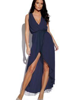 Blue Cocktail Dress - Dark Navy Blue High Low