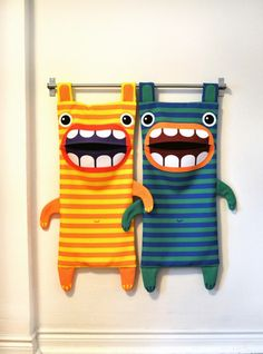 Monster laundry bags for kids room, featured on NONAGON.style