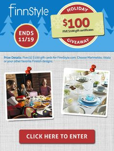 Win 100 dollars worth of modern design! @FinnStyle is giving away Marimekko, iittala and more. Click image to enter.