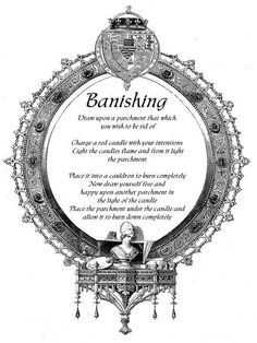 Banishing Spell: Draw upon a parchment that which you wish to be rid of. Charge a red candle with your intentions. Light the candle flame and from it light the parchment. Place it into a cauldron to burn completely. Now draw yourself free and happy on another parchment in the light of the candle. Place the parchment under the candle and allow it to burn down completely. #wicca #witchcraft #spells