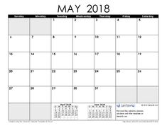 Download a free May 2018 Calendar from Vertex42.com