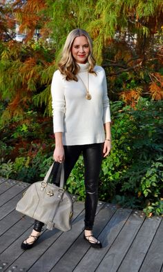 Fall Outfit: Leather pants + turtleneck sweater + lace up flats. (Via Confessions of a Product Junkie blog.)