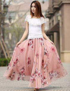 floral print skirt woman chiffon skirt custom made long skirt summer maxi skirt (936)