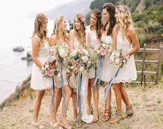 Short bridesmaid dress,bohemian bridesmaid dress,beach wedding party dress for bridesmaid,tea length bridesmaid dress,lace bridesmaid dressPD210505