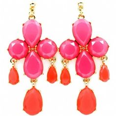 Victoria's Chunky Hot Pink Stone Chandelier Earrings - As Seen In Real Simple Magazine