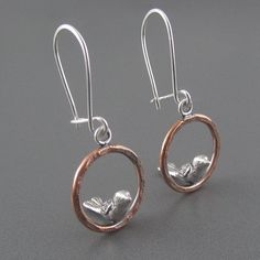 Birds on a Copper Hoop Mixed Metal Earrings by Beth Millner Jewelry