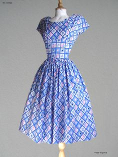 "50s Vtg  ""HORROCKSES Younger Set"" COTTON PRINT DAY/PARTY DRESS  36"" Bust"