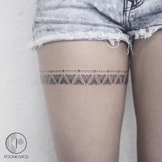 Mayan Pattern Thigh Band Tattoo by poonkaros