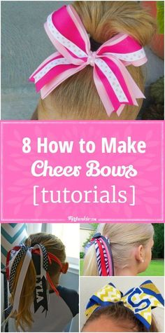 8 How to Make Cheer Bows [tutorials] 8 How to make cheer hair bows for girls ! They're so pretty they can be worn for any occasion. Volleyball Hair Bows, Cheerleading Hair Bows, Cheer Hair Bows, Diy Hair Bows, Diy Bow, Volleyball Tips, Football Cheerleading, Softball Bows, Softball Catcher