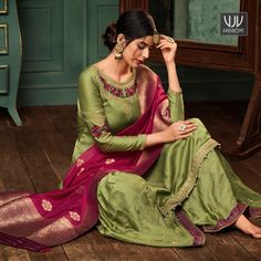 Beautiful Green Color Georgette Designer Palazzo Suit Add grace and charm for your appearance in this beautiful green color georgette and satin designer palazzo suit. The wonderful embroidered and resham work throughout the dress is awe inspiring Punjabi Suits Designer Boutique, Boutique Suits, Indian Designer Suits, Designer Salwar Suits, Designer Wear, Indian Dresses, Indian Outfits, Pakistani Dresses, Punjabi Salwar Suits