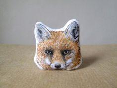 animal winter fox brooch hand painted pin for kitsune lovers foxy lady spirit totem gift idea autumn fall symbolism femininity