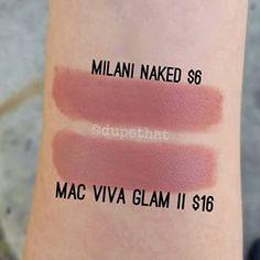 Nude Lipstick Dupe~ MILANI MOISTURE MATTE NAKED vs MAC VIVA GLAM 11(satin finish). Drugstore vs Highend Makeup